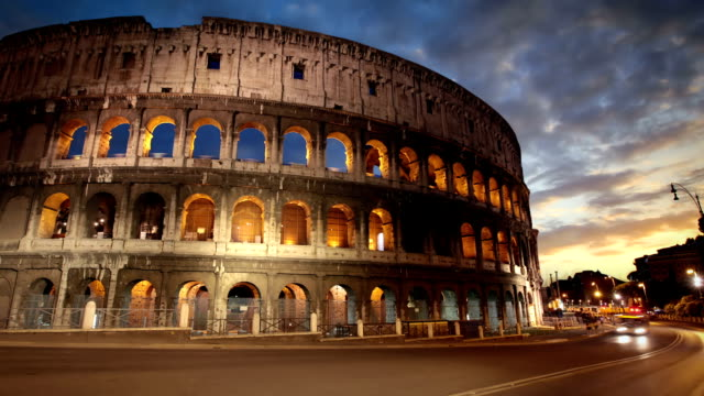 Colosseum at dusk, Rome, Italy video