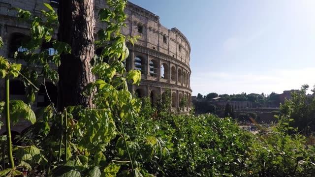 colosseum roman forum ruins in rome - stile classico romano video stock e b–roll