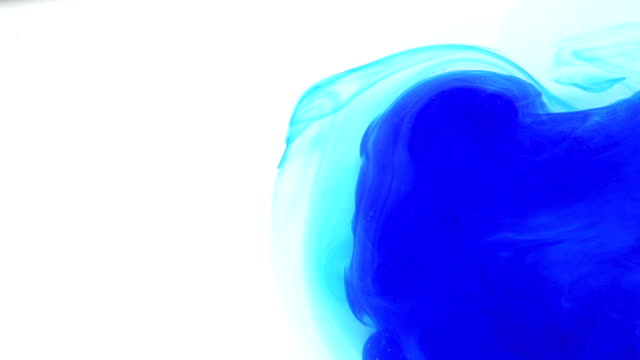 Colourful Blue Ink In Water On White Background video