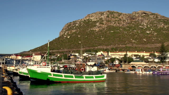 Colourful boats in Kalk Bay harbour, Cape Town,South Africa video