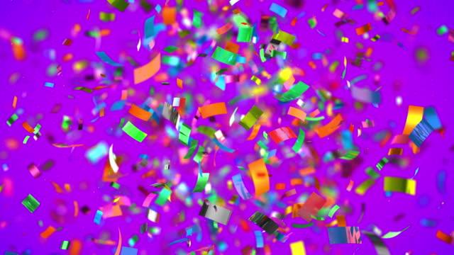 Colourful confetti in 4K