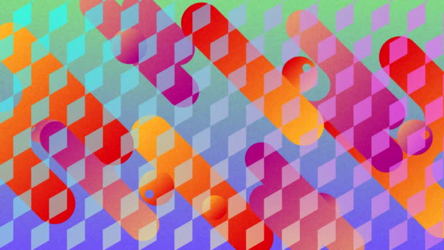 vídeos de stock e filmes b-roll de colourful curved shapes moving through diagonal diamond grid - vertical