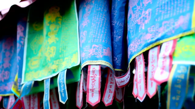 colourful flags with Buddhist mantras video