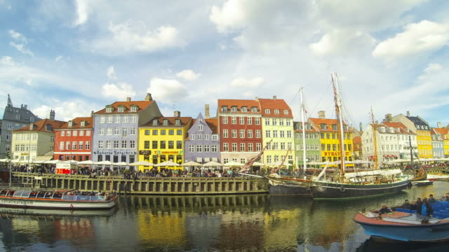 Colourful houses and boats in Copenhagen video