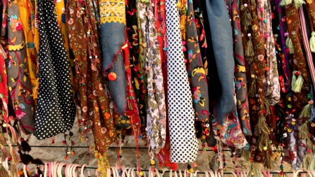 colourful pashmina shawls - grand bazaar video stock e b–roll