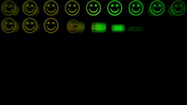 bunte smiley-gesichter, die in einem raster dsds - smiley stock-videos und b-roll-filmmaterial