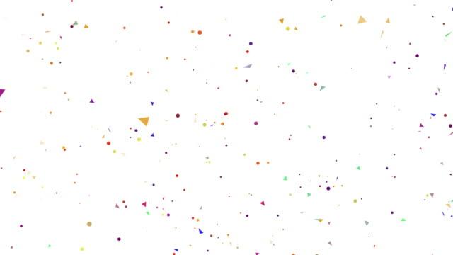 färgglada triangel confetti explosioner på vit bakgrund för celebration theme - confetti bildbanksvideor och videomaterial från bakom kulisserna