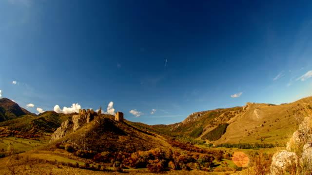 Coltesti fortress in autumn landscape video