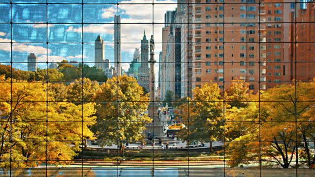 Columbus Circle. Central Park. Monument to Christopher Columbus. Office Building. Old House. Church. Creative.