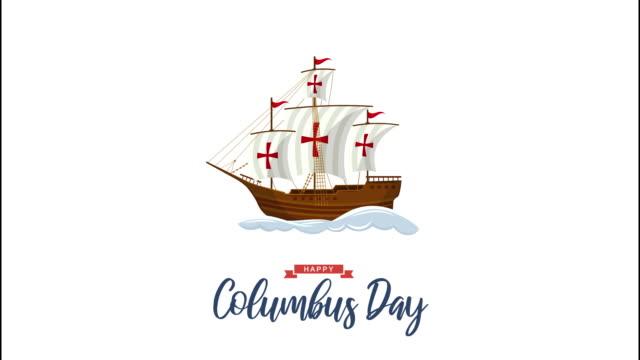 항해 선박과 파도와 콜럼버스 의 날 애니메이션. 4k 애니메이션 - columbus day 스톡 비디오 및 b-롤 화면