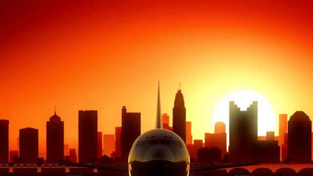Columbus Ohio USA America Skyline Sunrise Take Off video