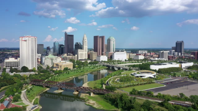 Columbus Ohio with Scioto river Aerial view of Downtown