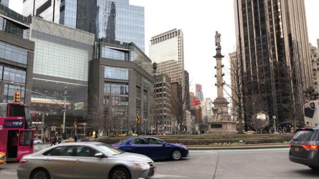 columbus tower traffic circle in new york city - columbus day filmów i materiałów b-roll