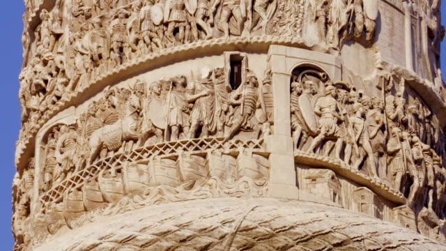 Column of Marcus Aurelius at Square Piazza Colonna in Rome, Italy video