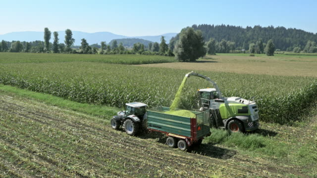 AERIAL Combine and tractor harvesting corn