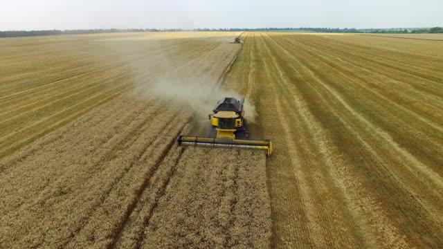 聯合收割機收集糧食 - 無人飛機 個影片檔及 b 捲影像