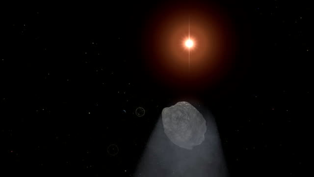 Comet Passing. CG. HD. Comet flyby animation. tail stock videos & royalty-free footage