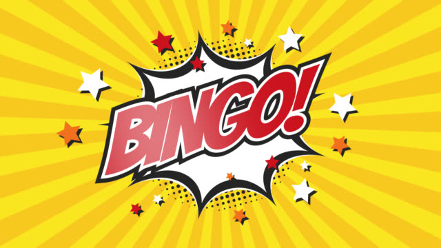 bingo! - video di testo comic pop art 4k, versione chiave chroma inclusa. - bingo video stock e b–roll