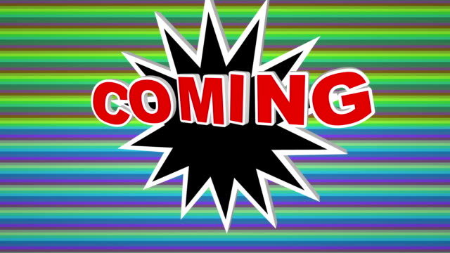 Coming soon comic pop art text against colorful background video