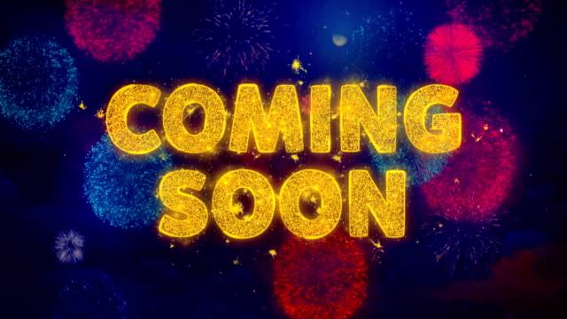 Coming Soon Text on Colorful Firework Explosion Particles.
