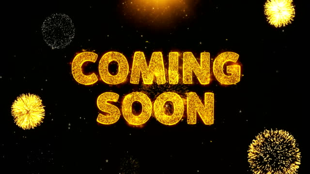 Coming Soon Text on Firework Display Explosion Particles.