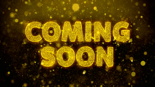 Coming Soon Text on Golden Glitter Shine Particles Animation.