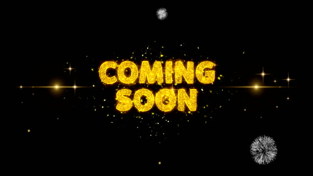 Coming Soon Text Reveal on Glitter Golden Particles Firework.