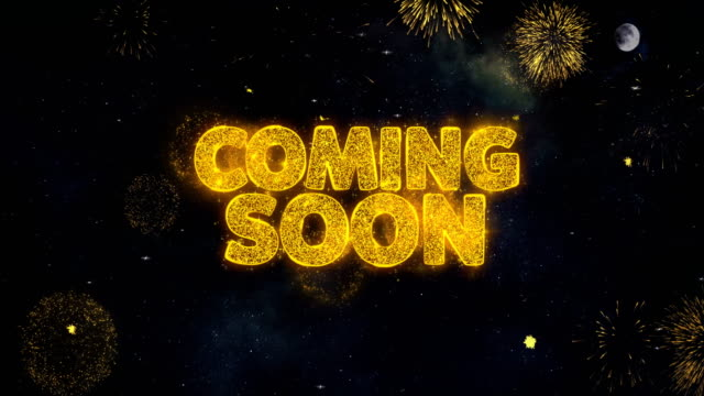 Coming Soon Text Wishes Reveal From Firework Particles Greeting card.