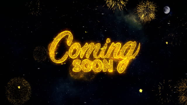 Coming Soon_1 Text Wishes Reveal From Firework Particles Greeting card.
