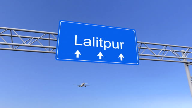 Commercial airplane arriving to Lalitpur airport travelling to Nepal video