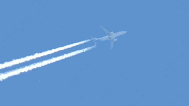 Commercial airplane flying in sky video