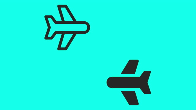 commercial airplane icons - vector animate - clip art video stock e b–roll