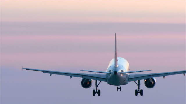 commercial airplane landing al atardecer - vídeo