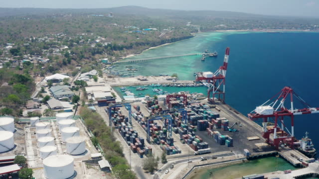 Commercial harbor of Kupang in Indonesia with containers