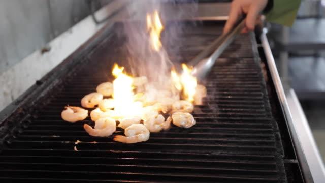 Commercial Kitchen Food Preparation - Grilling Shrimp Commercial Kitchen Food Preparation - Grilling Shrimp shrimp seafood stock videos & royalty-free footage
