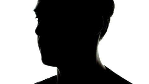 Common Young Adult Man Shape in Silhouette Common Young Adult Man Shape in Silhouette with T-Shirt and Rotating head stock videos & royalty-free footage