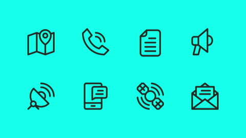 Communication Icons - Vector Animate Communication Icons Vector Animate 4K on Green Screen. icon stock videos & royalty-free footage