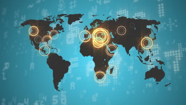 communication signals and stock markets - world map stock videos & royalty-free footage