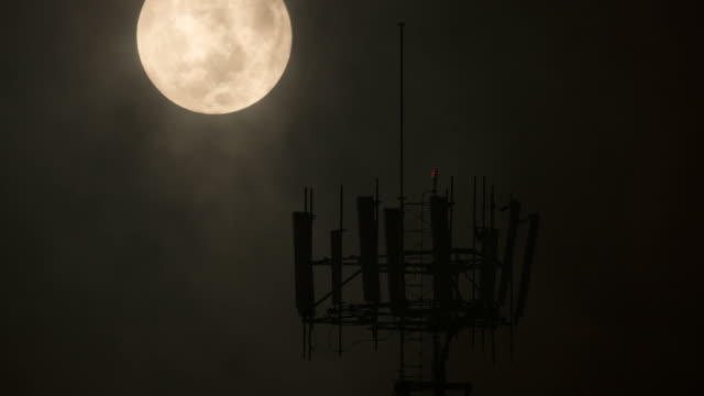 notte luna torre di comunicazione time-lapse - antenna parte del corpo animale video stock e b–roll