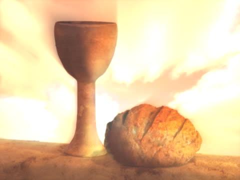 성찬식 컵 및 식빵 - 찰리스 스톡 비디오 및 b-롤 화면