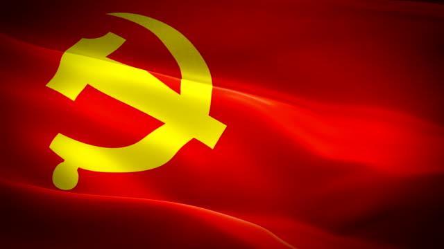 kommunistische china flagge closeup 1080p full hd 1920x1080 filmvideo winken im wind. nationale 3d chinesische flagge winken. zeichen der kommunistischen partei von china nahtlose schleife animation. peking chinesische flagge hd hintergrund - kommunismus stock-videos und b-roll-filmmaterial