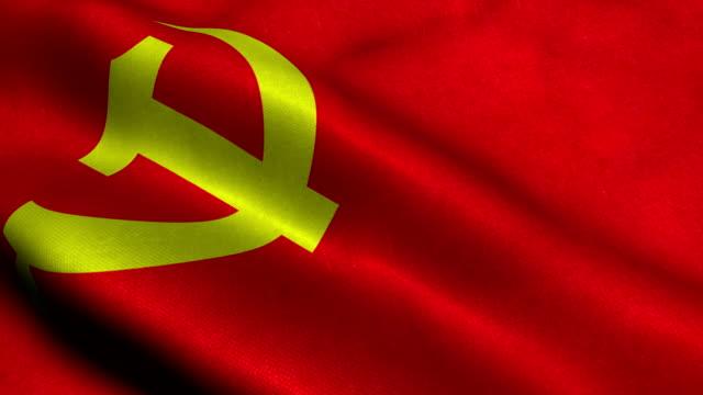 kommunistischen partei flagge - kommunismus stock-videos und b-roll-filmmaterial