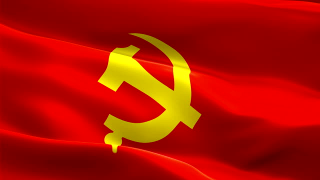 Communist Party of China Flag. Wave Loop waving in wind Beijing. Realistic Chinese Flag background. Communist Party of China Flag Closeup 1080p Full HD 1920X1080 footage. China and Beijing. Asian country flags/ Other HD flags available