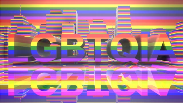 LGBTQIA Community Gay Pride LGBT Mardi Gras graphic title 3D render LGBTQIA+ Community Gay Pride LGBT Mardi Gras graphic title 3D render. The letters LGBT & LGBTQIA refer to lesbian, gay, bisexual, transgender, queer or questioning, intersex, and asexual or allied. cisgender stock videos & royalty-free footage