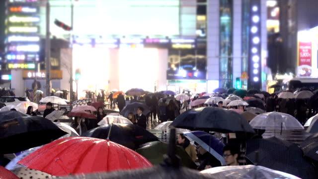 Commute in the Rain Umbrella, Crowd, South Korea, Street, Rain, Walk, City, Crossing, Commute, Crowd south korea stock videos & royalty-free footage