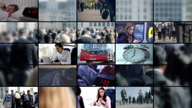 commuter video wall. montage of people starting the day, waking up and travelling to work by bus, train car and walking. - montaggio in sequenza video stock e b–roll