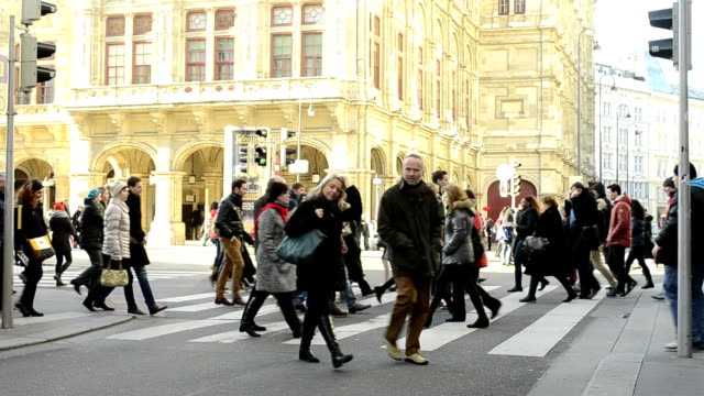 Commuters on Crosswalk. video