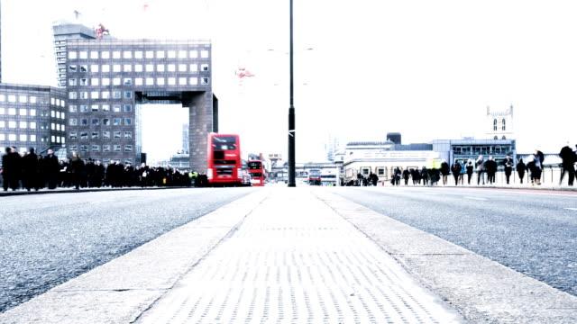 commuters: rush hour on London Bridge video