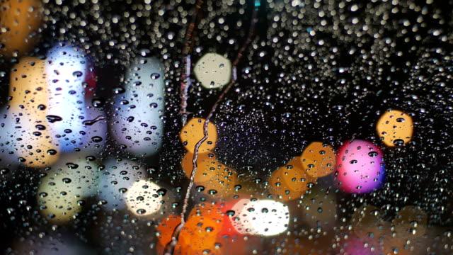 Commuters traveling in heavy rain. video