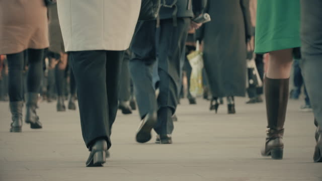 Commuters walking to work. Low age view. video